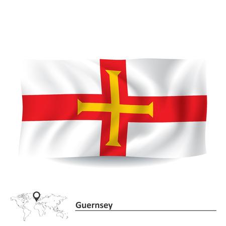guernsey: Flag of Guernsey - vector illustration Illustration