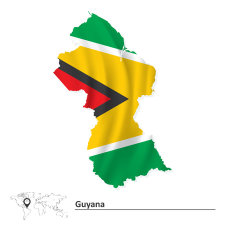 guyanese: Map of Guyana with flag - vector illustration