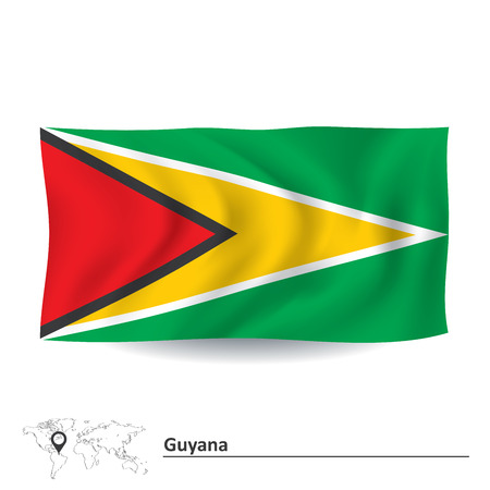 guyana: Flag of Guyana - vector illustration