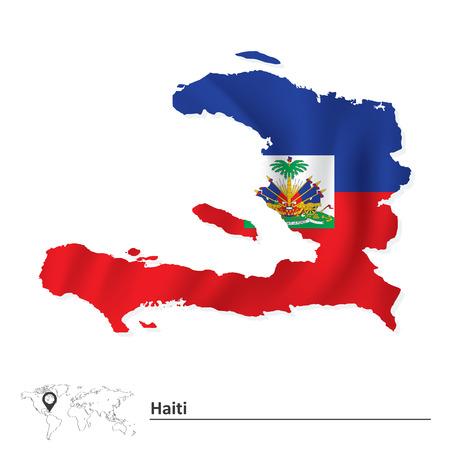 haiti: Map of Haiti with flag - vector illustration