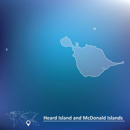 heard: Map of Heard Island and McDonald Islands - vector illustration
