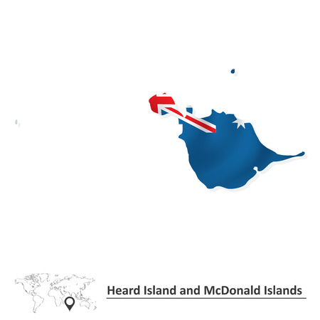 heard: Map of Heard Island and McDonald Islands with flag - vector illustration