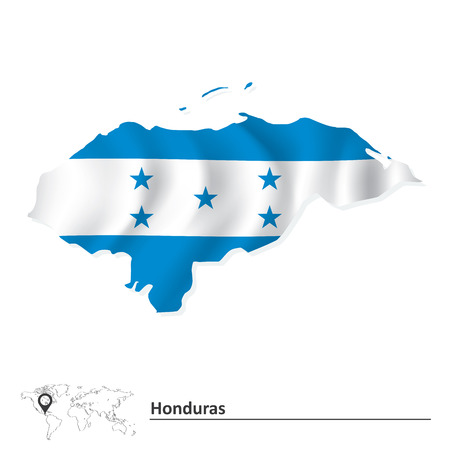 toltec: Map of Honduras with flag - vector illustration