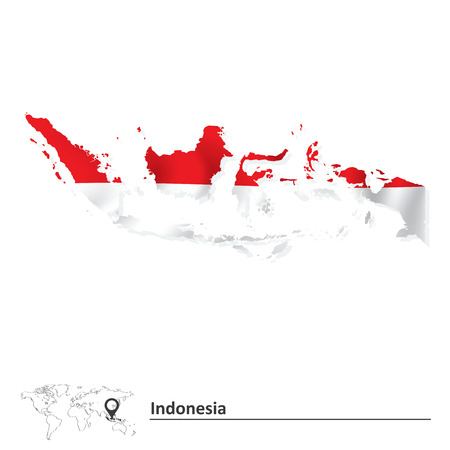 Map of Indonesia with flag - vector illustration