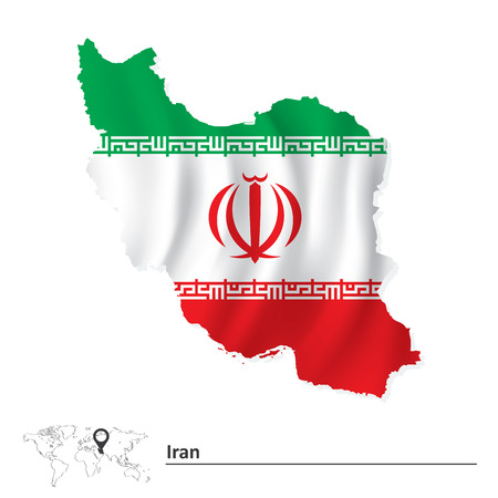 iran: Map of Iran with flag - vector illustration