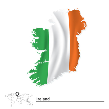 Map of Ireland with flag - vector illustration Ilustração