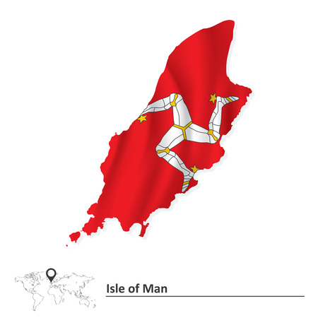 british isles: Map of Isle of Man with flag - vector illustration Illustration