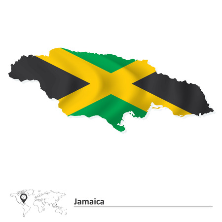Map of Jamaica with flag - vector illustration Vector