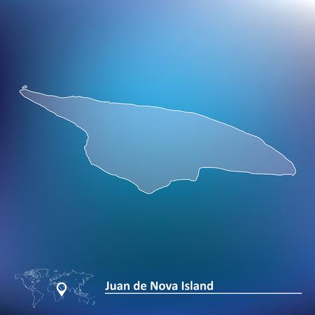 nova: Map of Juan de Nova Island - vector illustration