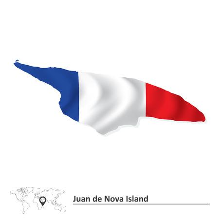 nova: Map of Juan de Nova Island with flag - vector illustration Illustration