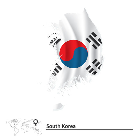 Map of South Korea with flag - vector illustration Vector