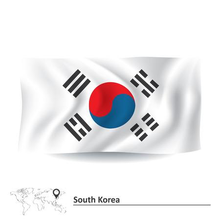 sur: Bandera de Corea del Sur - ilustración vectorial