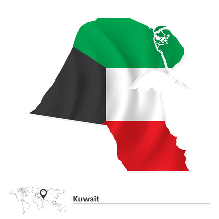 Map of Kuwait with flag - vector illustration Vector