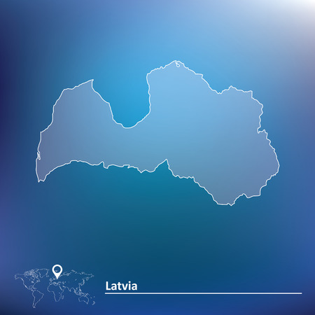 latvia: Map of Latvia - vector illustration