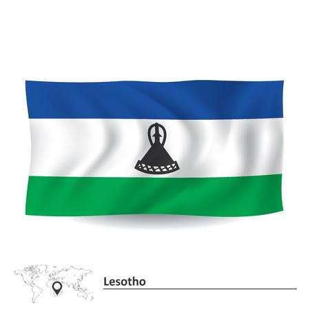 lesotho: Flag of Lesotho - vector illustration Illustration
