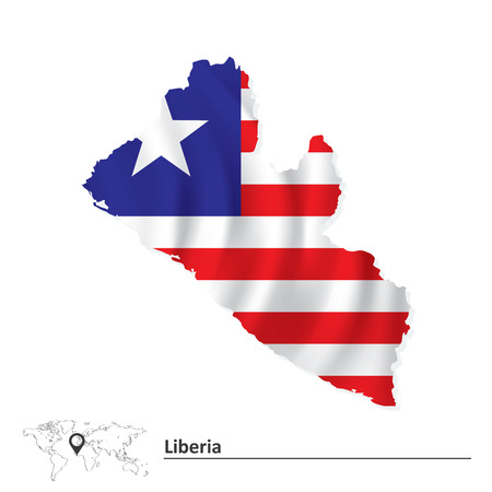 liberia: Map of Liberia with flag - vector illustration Illustration