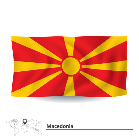 macedonia: Flag of Macedonia - vector illustration