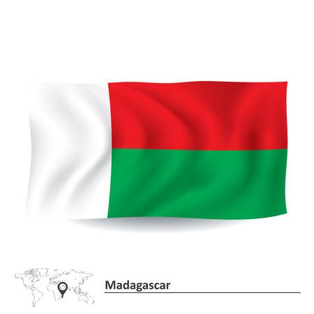 madagascar: Flag of Madagascar - vector illustration