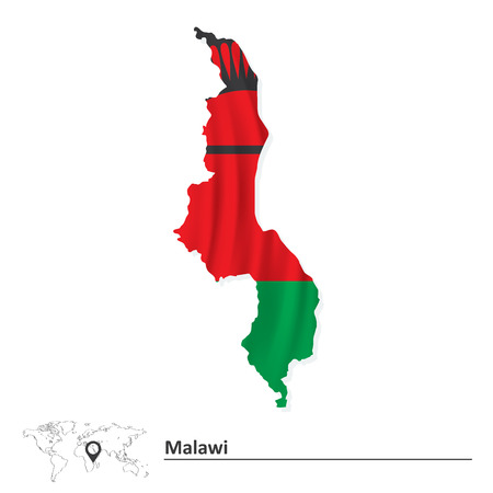 Map of Malawi with flag - vector illustration Vector