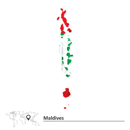 Map of Maldives with flag - vector illustration