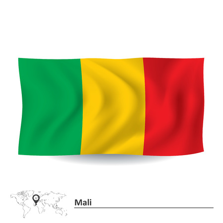 mali: Flag of Mali - vector illustration