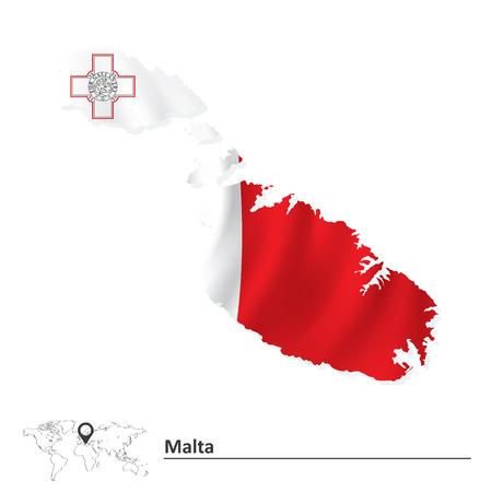 malta: Kaart van Malta met vlag - vector illustratie Stock Illustratie