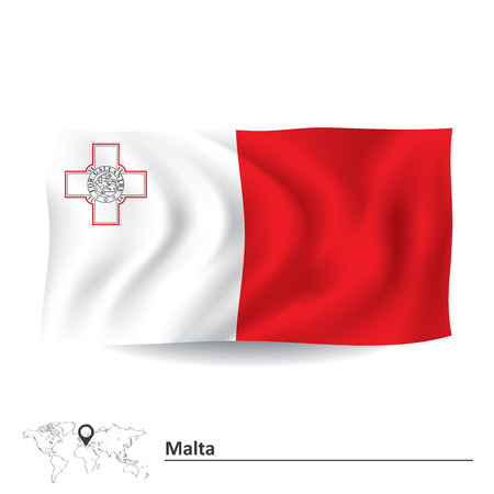 maltese map: Flag of Malta - vector illustration Illustration