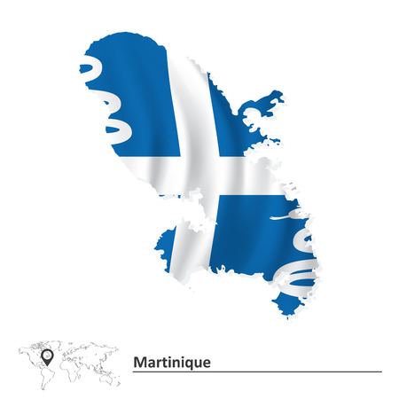 martinique: Map of Martinique with flag - vector illustration
