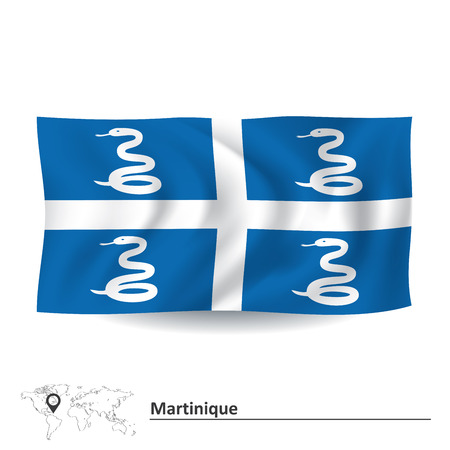 martinique: Flag of Martinique - vector illustration