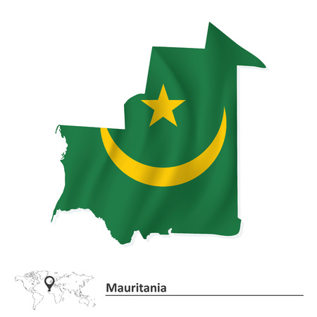 mauritania: Map of Mauritania with flag - vector illustration