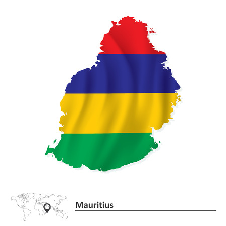 creole: Map of Mauritius with flag - vector illustration Illustration