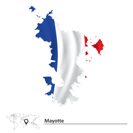 mayotte: Map of Mayotte with flag - vector illustration