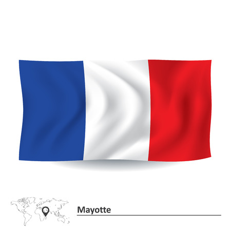 mayotte: Flag of Mayotte - vector illustration