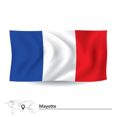 mayotte: Flag of Mayotte - vector illustration
