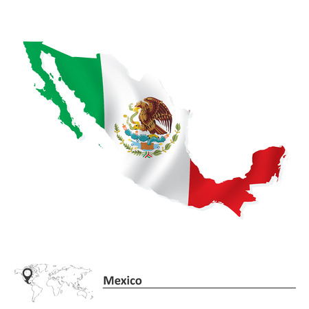 Map of Mexico with flag - vector illustration Vector