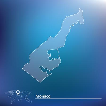 monaco: Map of Monaco - vector illustration Illustration