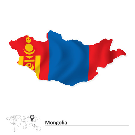 Map of Mongolia with flag - vector illustration Vector