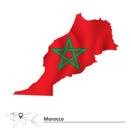 pentacle: Map of Morocco with flag - vector illustration