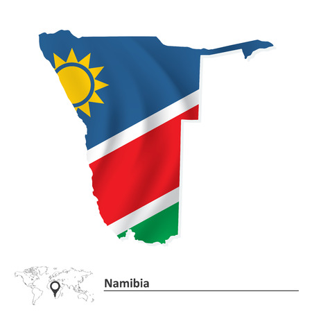 namibia: Map of Namibia with flag - vector illustration Illustration