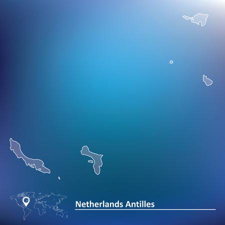 antilles: Map of Netherlands Antilles - vector illustration
