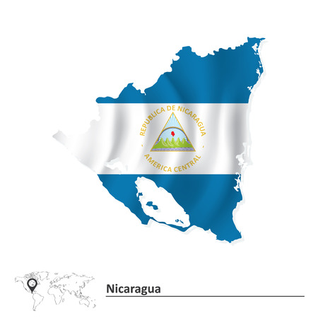Map of Nicaragua with flag - vector illustration Vetores