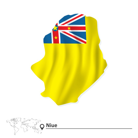 niue: Map of Niue with flag - vector illustration
