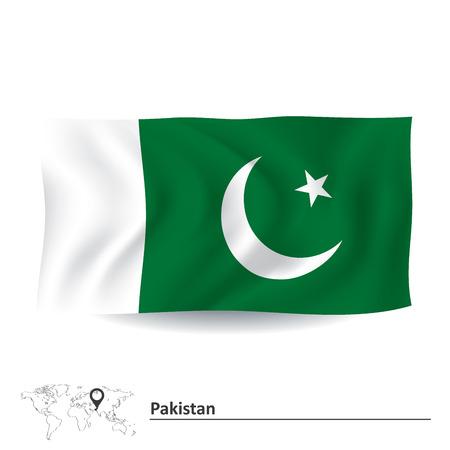 islamabad: Flag of Pakistan - vector illustration