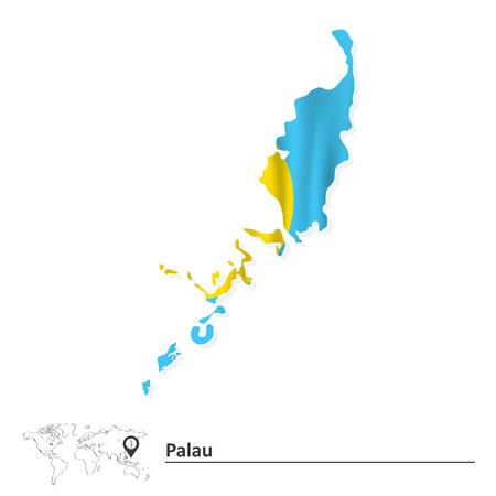 palau: Map of Palau with flag - vector illustration Illustration