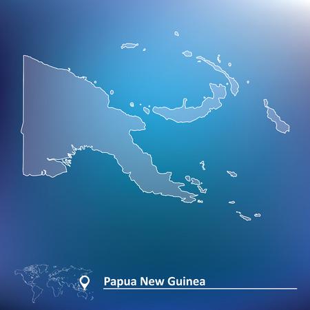 Carte de la Papouasie-Nouvelle-Guinée - illustration vectorielle