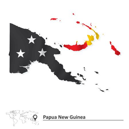 papouasie: Carte de la Papouasie-Nouvelle-Guin�e avec le drapeau - illustration vectorielle Illustration