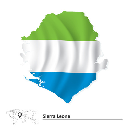 sierra: Map of Sierra Leone with flag - vector illustration Illustration
