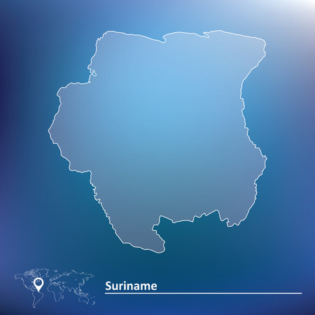 suriname: Map of Suriname - vector illustration