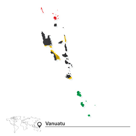 shinning: Map of Vanuatu with flag - vector illustration