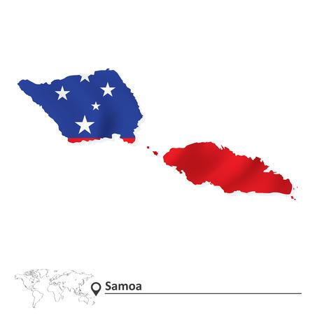 samoa: Map of Samoa with flag - vector illustration